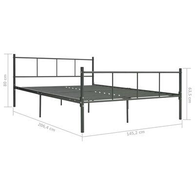vidaXL Cadru de pat, gri, 140 x 200 cm, metal