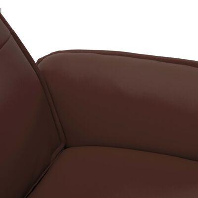 vidaXL Fotoliu rabatabil cu taburet, maro, piele ecologică