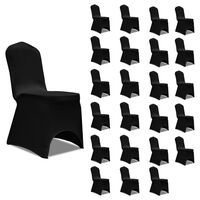vidaXL Huse de scaun elastice, 24 buc., negru