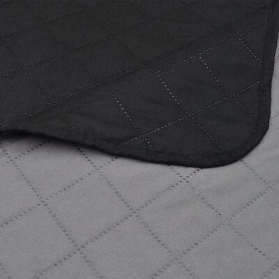 Cuvertură matlasată cu doua fețe 170 x 210 cm, Negru/gri