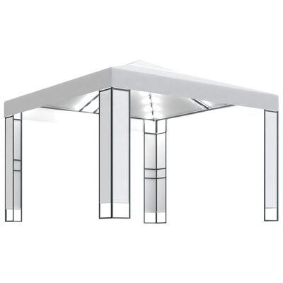 vidaXL Pavilion cu acoperiș dublu & șiruri de lumini, alb, 3x3 m