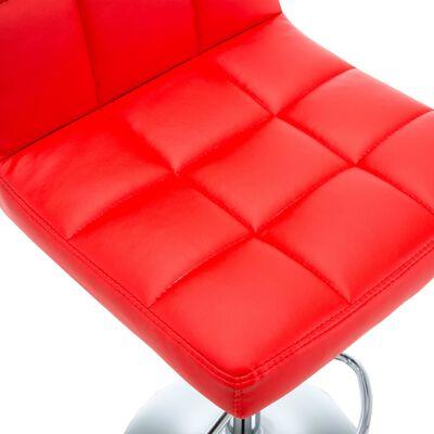 vidaXL Scaune de bar, 2 buc., roșu, piele ecologică