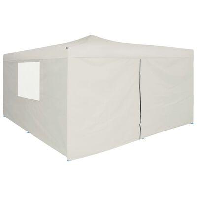 vidaXL Pavilion pliabil cu 4 pereți laterali, crem, 5 x 5 m