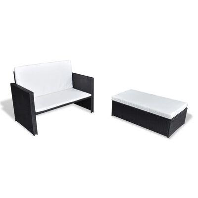 vidaXL Set mobilier de grădină cu perne, 2 piese, negru, poliratan