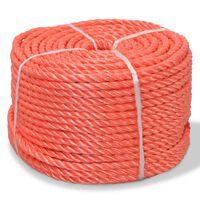 vidaXL Frânghie împletită polipropilenă, portocaliu, 100 m, 14 mm
