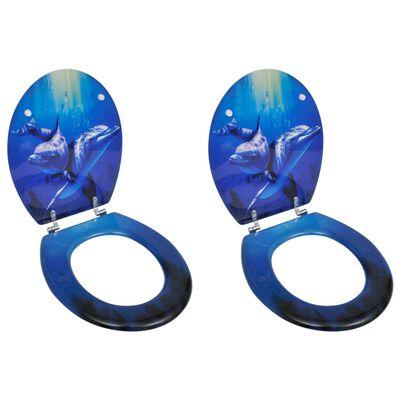 vidaXL Capace WC, 2 buc., MDF, model delfini
