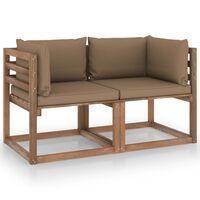 vidaXL Canapea de grădină paleți, 2 locuri, perne gri taupe, lemn pin