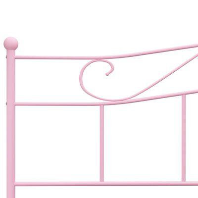 vidaXL Cadru de pat, roz, 200 x 200 cm, metal