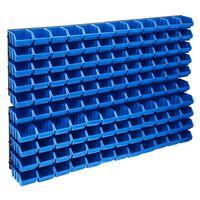 vidaXL Set cutii depozitare 128 piese, panouri perete, albastru&negru
