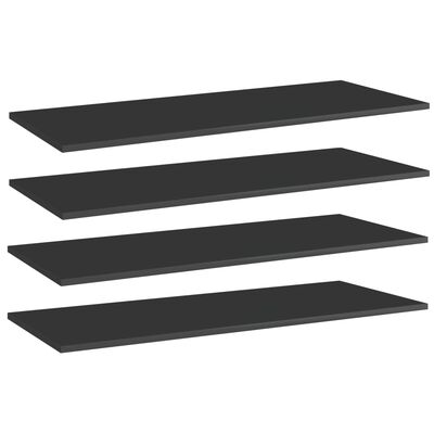 vidaXL Plăci bibliotecă 4 buc. negru extralucios 100 x 40 x 1,5 cm PAL