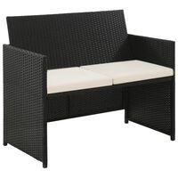 vidaXL Canapea de grădină cu 2 locuri, cu perne, negru poliratan