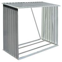 vidaXL Șopron depozitare lemne, oțel galvanizat, 163x83x154 cm, gri
