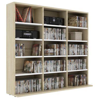 vidaXL Dulap CD-uri, alb și stejar Sonoma, 102x23x89,5 cm, PAL