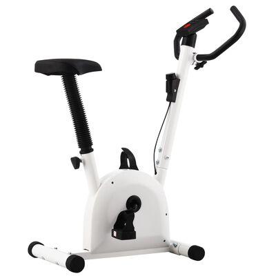 vidaXL Bicicletă fitness cu curea de rezistență, alb
