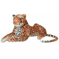 vidaXL Leopard de jucărie din pluș maro XXL