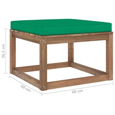 vidaXL Taburet de grădină cu pernă verde