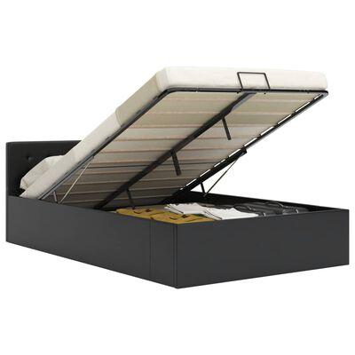 vidaXL Cadru pat hidraulic, depozitare, negru 140 x 200 cm, piele eco