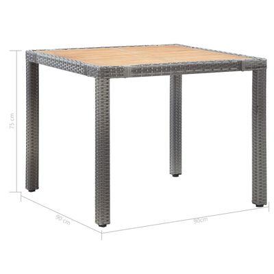 vidaXL Set mobilier de exterior cu perne, 5 piese, gri, poliratan