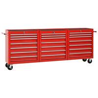 vidaXL Cărucior de scule cu 21 sertare, roșu, oțel