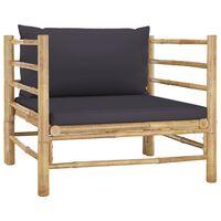 vidaXL Canapea de grădină, perne gri închis, bambus