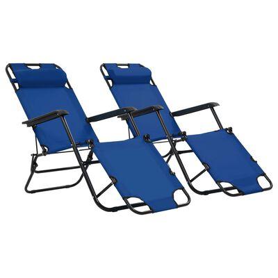 vidaXL Șezlonguri plajă pliabile suport picioare 2 buc. albastru oțel