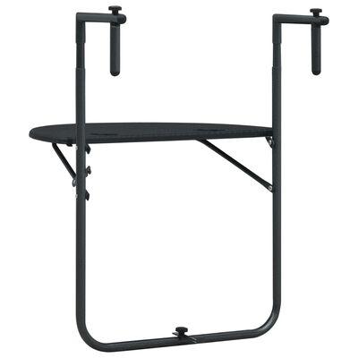 vidaXL Masă balcon suspendată negru 60x64x83,5 cm plastic aspect ratan