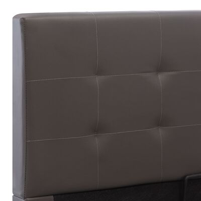 vidaXL Cadru pat hidraulic cu ladă, gri, 100 x 200 cm, piele ecologică