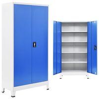 vidaXL Dulap de birou, metal, 90 x 40 x 180 cm, gri și albastru