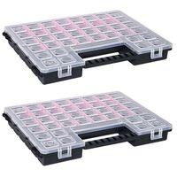 vidaXL Cutii sortare 2 buc separatoare reglabile 385x283x50 mm plastic
