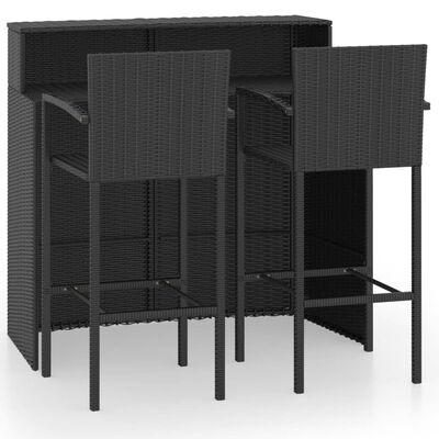 vidaXL Set mobilier bar de grădină, 3 piese, negru