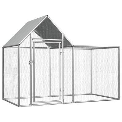 vidaXL Coteț pentru păsări, 2 x 1 x 1,5 m, oțel galvanizat