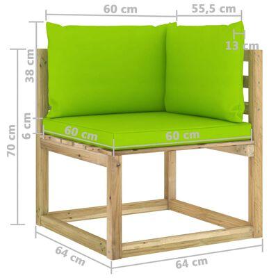 vidaXL Canapele colțar grădină cu perne 2 buc. lemn pin verde tratat