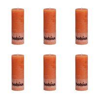 Bolsius Lumânare bloc rustică, 6 buc., portocaliu, 190 x 68 mm
