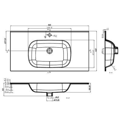 vidaXL Chiuvetă încorporată, alb, 900x460x105 mm, SMC