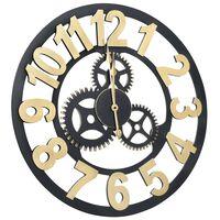 vidaXL Ceas de perete, auriu și negru, 70 cm, MDF