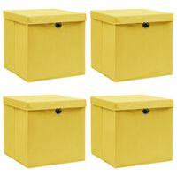 vidaXL Cutii depozitare cu capace, 4 buc., galben, 32x32x32 cm, textil
