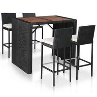 vidaXL Set mobilier de exterior 9 piese, negru, poliratan, lemn acacia
