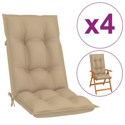 vidaXL Perne pentru scaun de grădină, 4 buc., bej, 120 x 50 x 7 cm