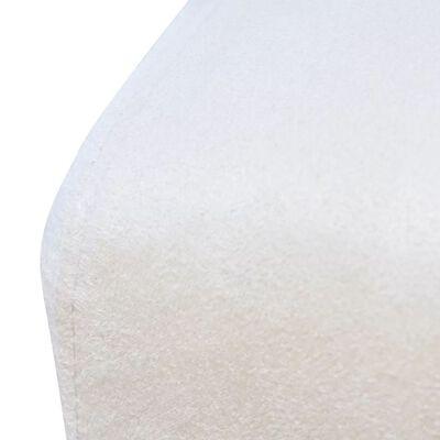 vidaXL Scaune de bucătărie, 2 buc., alb crem, material textil