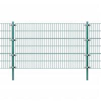 vidaXL Panou gard cu stâlpi, verde 6x1,2 m, fier vopsit electrostatic