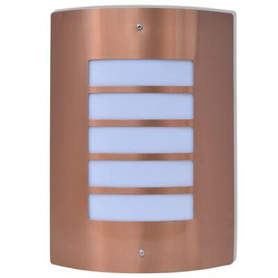 vidaXL Corp de iluminat exterior de perete, oțel inoxidabil și cupru