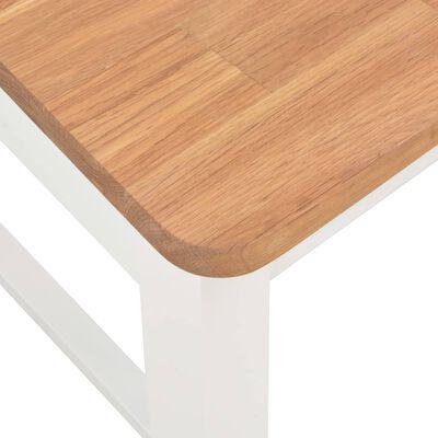 vidaXL Scaune de bucătărie, 2 buc., alb, lemn masiv de stejar