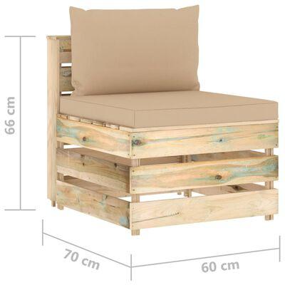 vidaXL Set mobilier grădină cu perne, 6 piese, lemn verde tratat