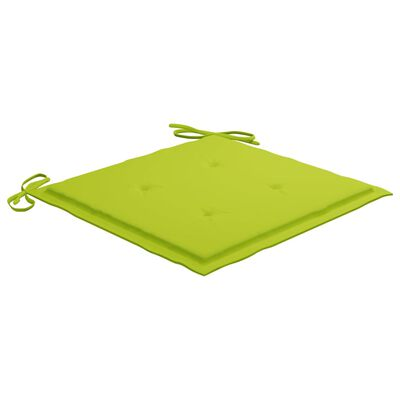 vidaXL Scaune de bucătărie, perne verde aprins, 8 buc., lemn masiv tec