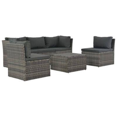vidaXL Set mobilier de grădină cu perne, 4 piese, gri, poliratan