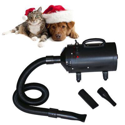vidaXL Uscător de păr pentru câini cu 3 duze, negru, 2400 W