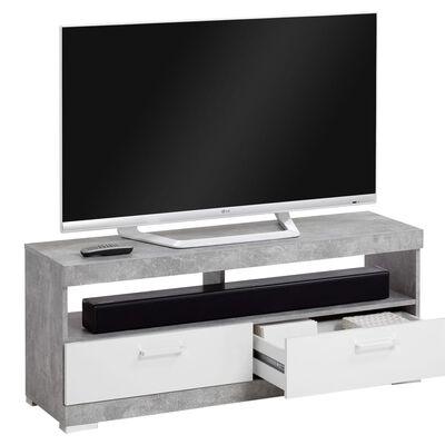 FMD Suport TV/Hi-Fi, gri beton și alb lucios