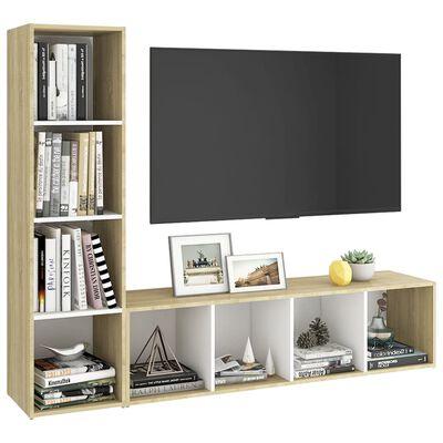 vidaXL Comode TV, 2 buc., alb și stejar Sonoma, 142,5x35x36,5 cm, PAL
