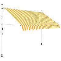 vidaXL Copertină retractabilă manual, dungi galben și alb, 250 cm