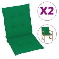 vidaXL Perne scaun de grădină, 2 buc., verde, 100 x 50 x 3 cm